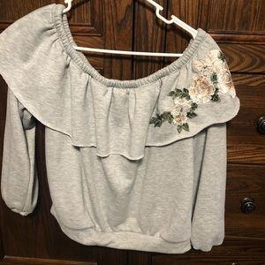 Grey sweater blouse